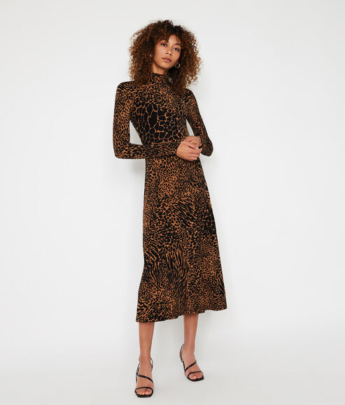 Mixed Animal Roll Neck Dress