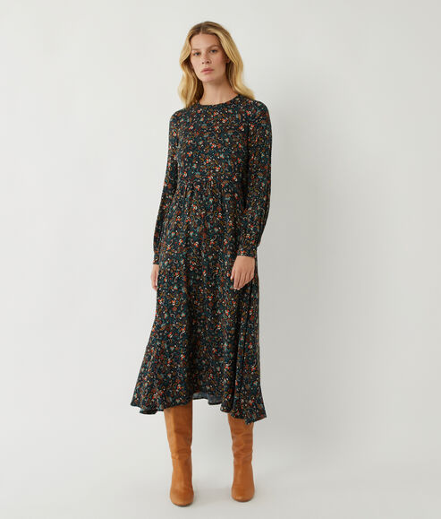 Ditsy Paisley Tier Midi Dress