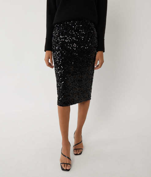 Velvet Sequin Midi Skirt