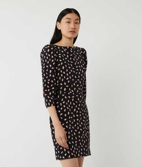 Brush Print Mini Crepe Dress
