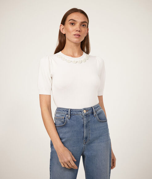 Pearl Embellished Neck Tee