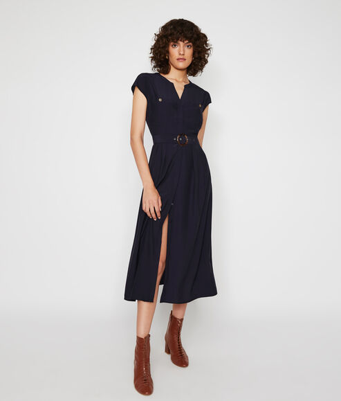 Horn Ring Belted Midi Dress