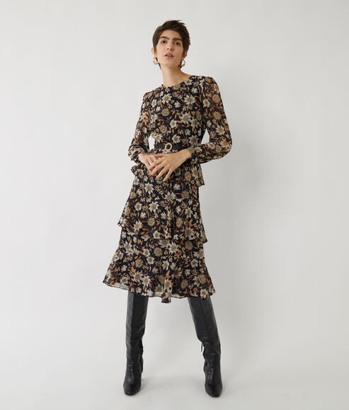Autumn Daisy Tiered Midi Dress