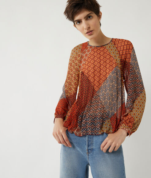 Geo Scarf Pleated Smock Top