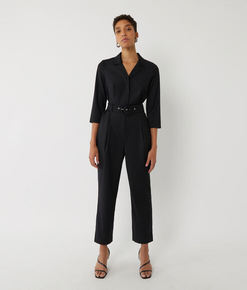 Placket Belted Jumpsuit