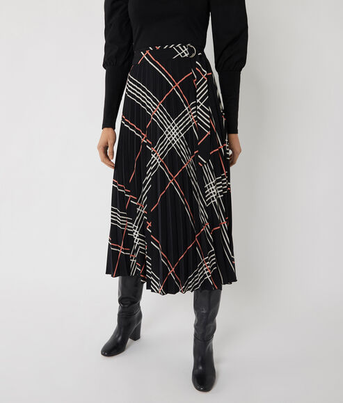 Check Pleated Midi Wrap Skirt
